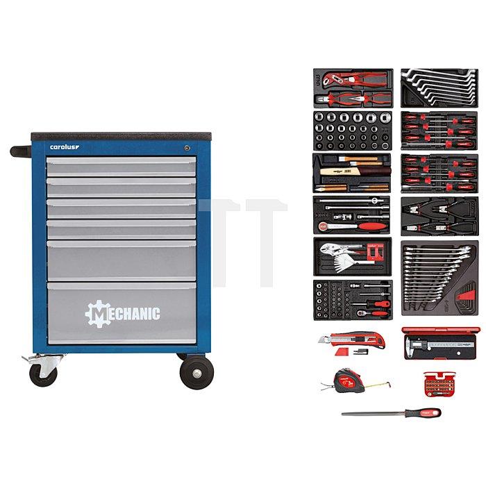 CAROLUS Werkstattwagen MECHANIC blau mit Werkzeugsatz 2200.090, 164-tlg