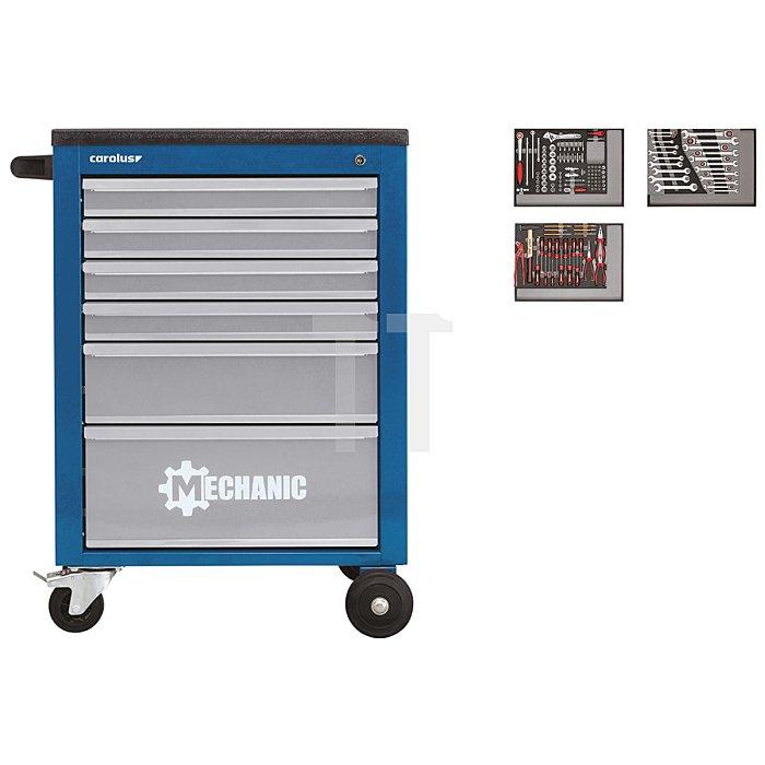 CAROLUS Werkstattwagen MECHANIC blau mit Werkzeugsatz 2250.3802, 130-tlg