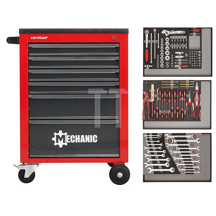 CAROLUS Werkstattwagen MECHANIC rot mit Werkzeugsatz 2250.3802, 130-tlg