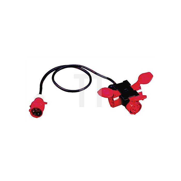 CEE-Adapter IP44 H07RN-F5G1,5mm2 L.1,5m Eingang/Ausgang 1xCEE/3xKuppl.