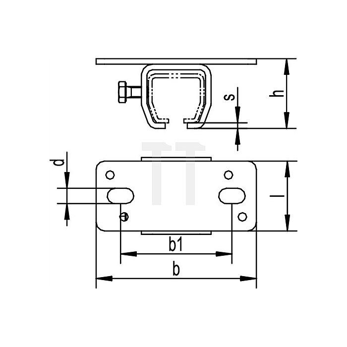 Deckenbefestigungsmuffe 302 f.Profil 300 galvanisch verzinkt f.1 Laufschiene