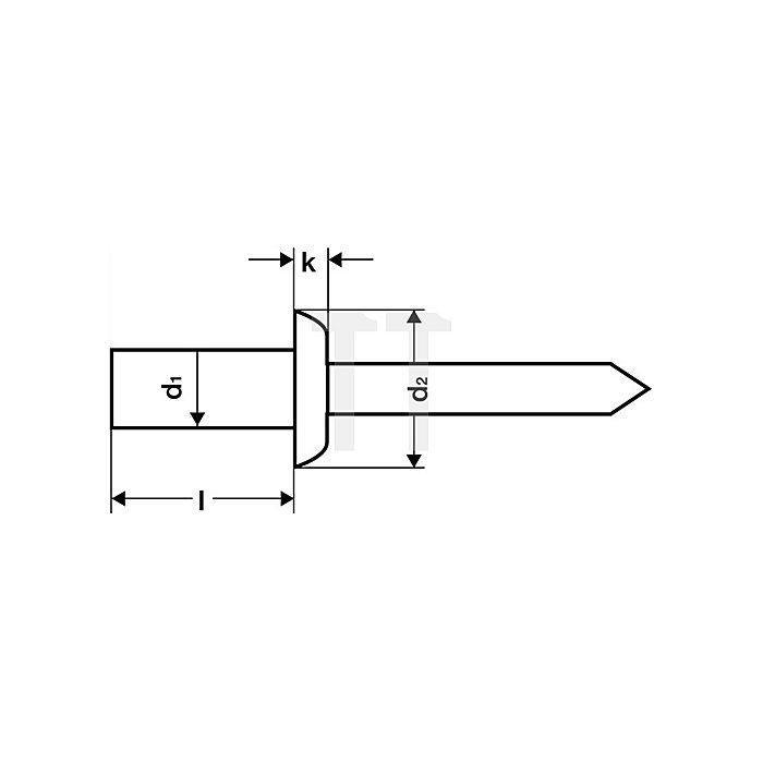 Dichtblindniet Alu./Stahl 4x8mm dxl GESIPA f.0,5-3,5mm