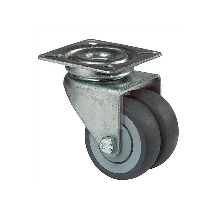Doppel-Lenkrolle Durchmesser 50mm Tragfähigkeit 80kg Vollgummireifen