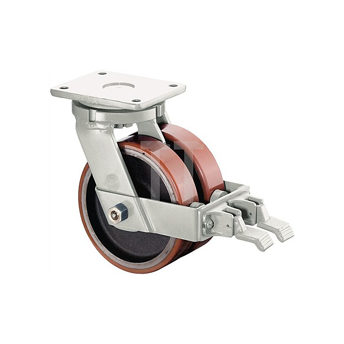 Doppel-Lenkrolle m.Feststeller D.300mm Trgf.5600kg Guss-PUR-Rad Platte 225x200mm