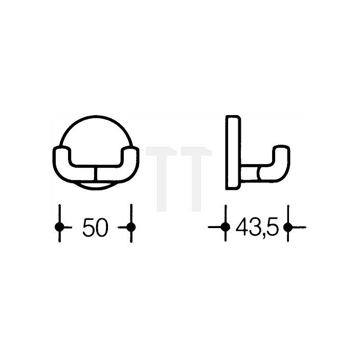 Doppelhaken 477.90.025 99 PA D. 50mm reinweiss