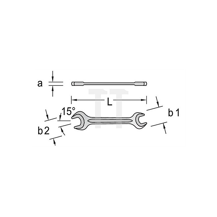 Doppelmaulschlüssel SW 25x28mm mangan-phos Vergütungsstahl C35