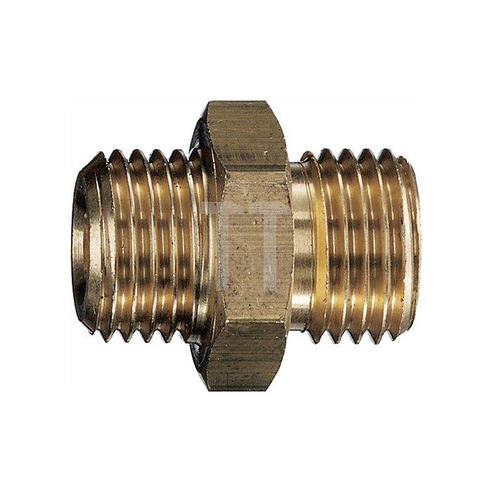 Doppelnippel kurz G 1/4 x G 1/4, Messing mit Konus 45 Grad EN 560 6x6mm