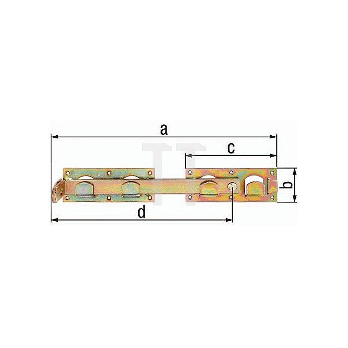 Doppeltorüberwurf 430x70x180x348mm Stahl roh galv. gelb verz. GAH