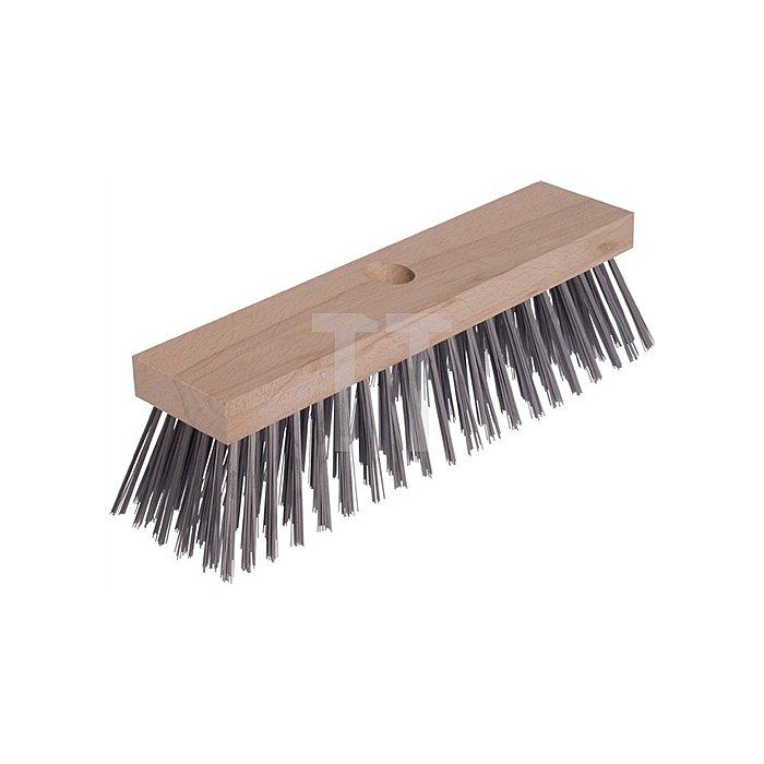 Drahtbesen Holzkörper m.Stielloch 5 Reihen Gussstahldraht glatt Osborn