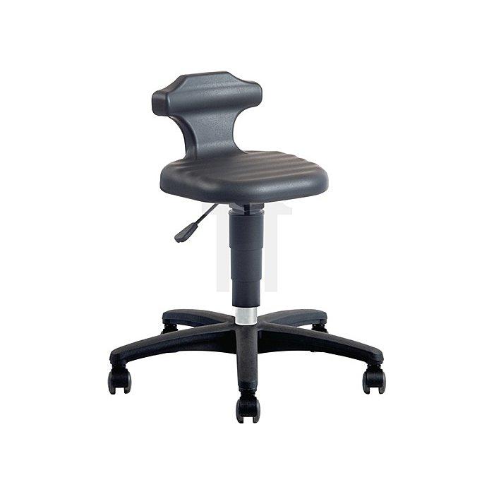 Drehhocker Flex m.Rollen u.Rückenstütze Integralschaum schwarz Sitz-H.450-650mm