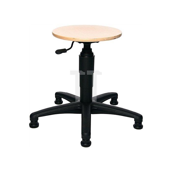 Drehhocker m.Gleitern Buche Sitz-H.420-550mm Sitz-D.350mm