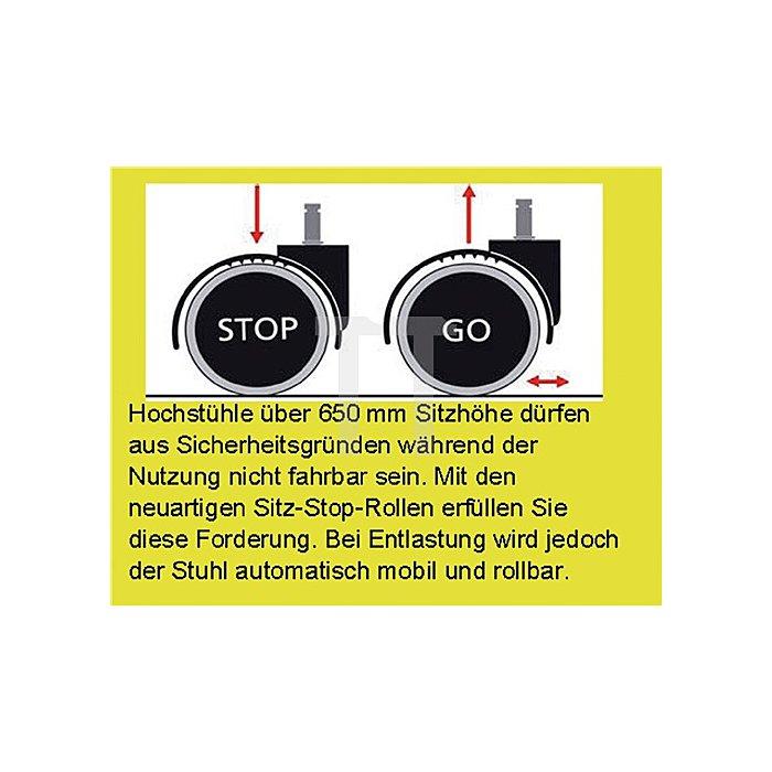 Drehhocker m.Sitz-Stop Rollen u.Fußring Supertec-Gewebe Sitz-H.510-780mm