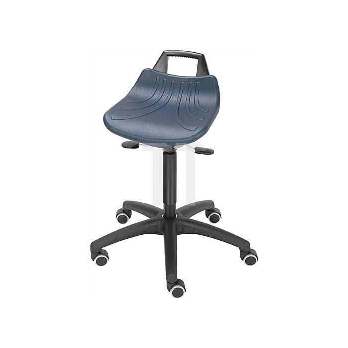 Drehhocker Sitz PU-Schaum blau mit Rollen