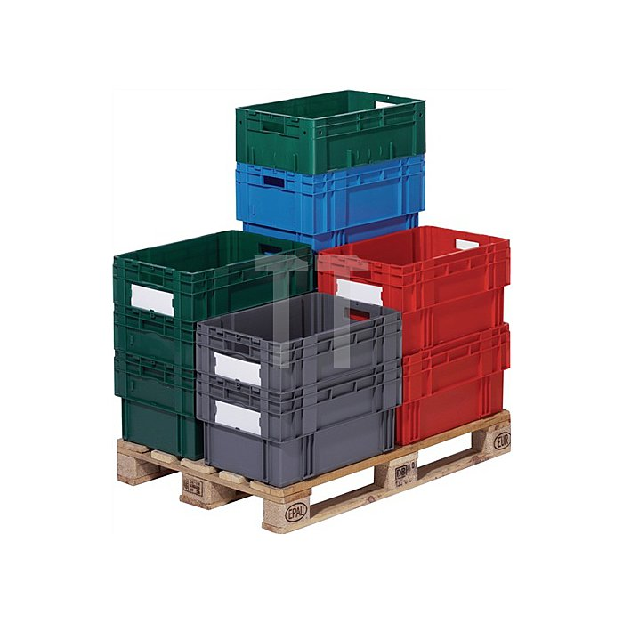 Drehstapelbehälter PP grau Trgf.65kg L.600xB.400xH.270mm