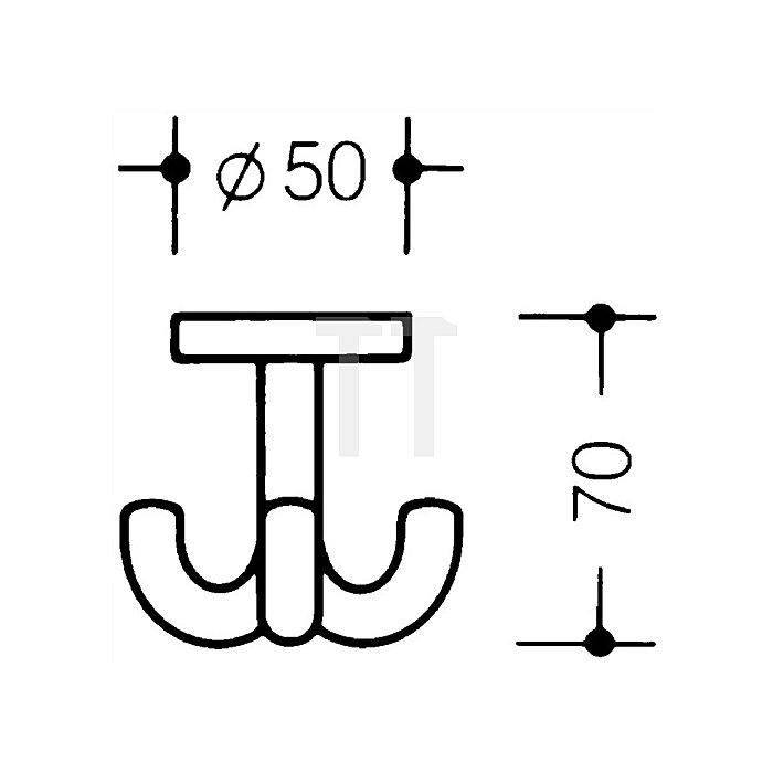 Dreifachhaken 477.90.050 30 PA D.50mm bordeauxrot drehbar zur Deckenmontage