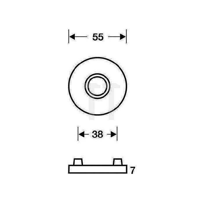 Drückerrosette 1731 Durchmesser 55mm Edelstahl matt für festdrehbare Lagerung