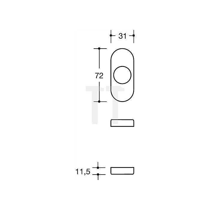 Drückerrosette 315.23RKN90 R-Technik f.Drücker D.23mm tiefschwarz o.Nocken flach