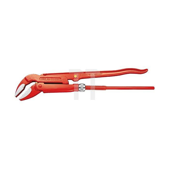 """Eck-Rohrzange 45° rot lackiert poliert 1½"""" 38,1mm"""
