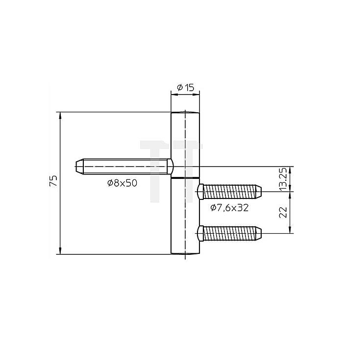 Einbohrband BAKA B 1-15 Rollen-L.75mm Rollen-D.15mm Stahl vernickelt 2-teilig