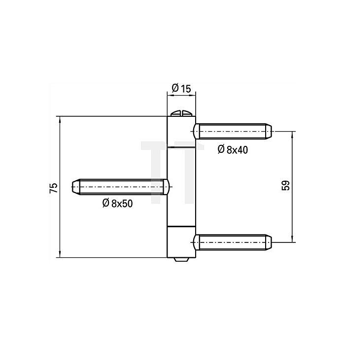 Einbohrband BAKA C 1-15 WF Rollen-L.75mm Rollen-D.15mm Stahl vernickelt 3-tlg.