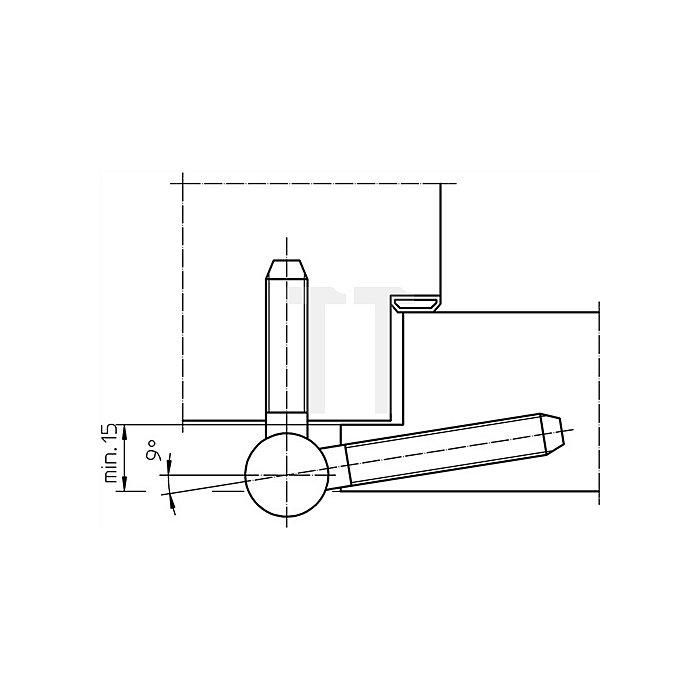 Einbohrband BAKA C 1-20 WF Rollen-L.86mm Ro.-D.20mm Stahl vernickelt 3-tlg.