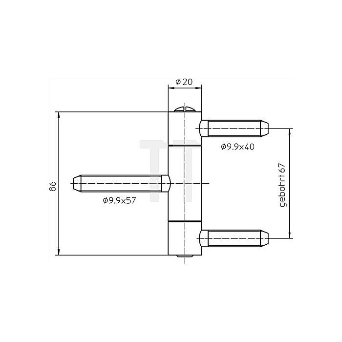 Einbohrband BAKAC 1-20 WF Rollen-L.86mm Ro.-D.20mm Stahl topzink 3-tlg mit Sich.