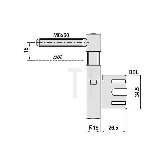 Einbohrband V 8550 Steigung b. 6mm DIN li. Stahl vernickelt f. gefälzte Türen