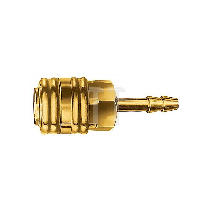 Einhandkupplung W.9mm a.Ms. m.Schlauchanschluss