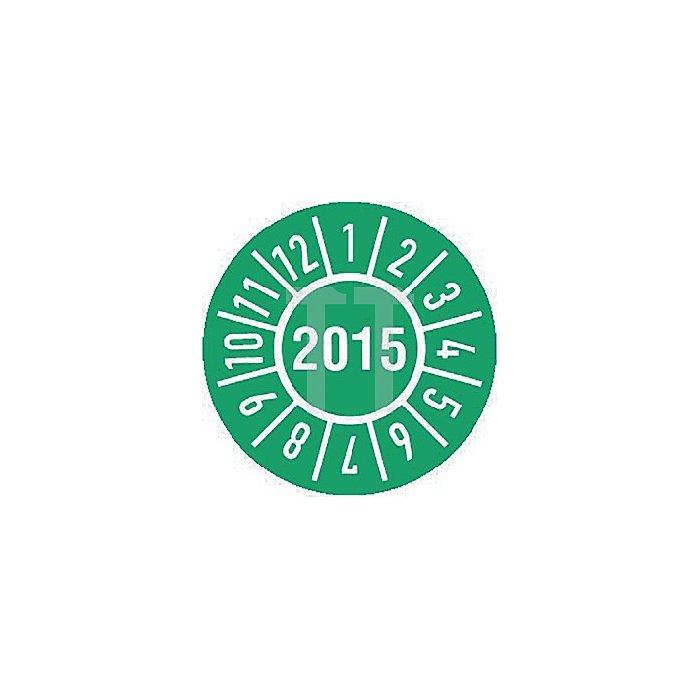 Einjahres-Prüfplakette Jahr 2015 mit Monaten 15mm selbstkl. Btl. a 100 Stück