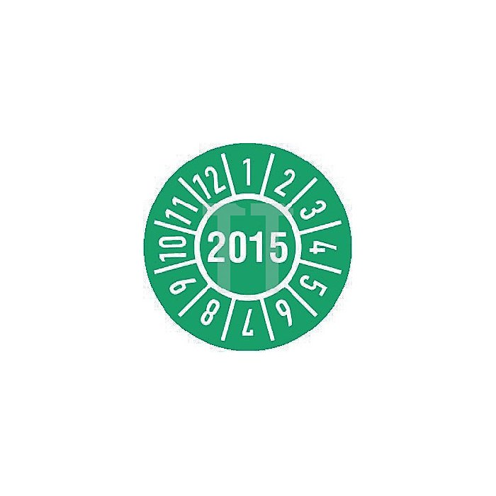 Einjahres-Prüfplakette Jahr 2015 mit Monaten 30mm selbstkl. Btl. a 100 Stück