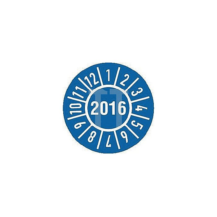 Einjahres-Prüfplakette Jahr 2016 mit Monaten 30mm selbstkl. Btl. a 100 Stück