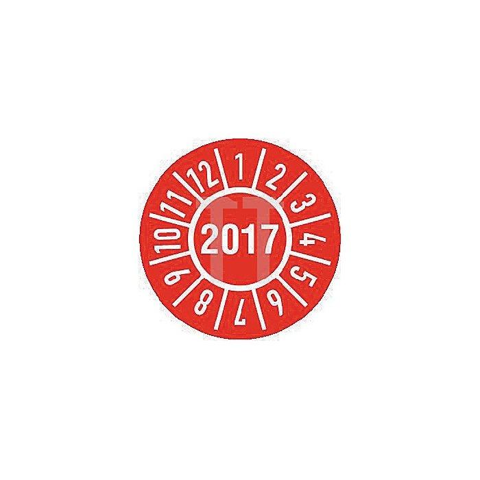 Einjahres-Prüfplakette Jahr 2017 mit Monaten 15mm selbstkl. Btl. a 100 Stück