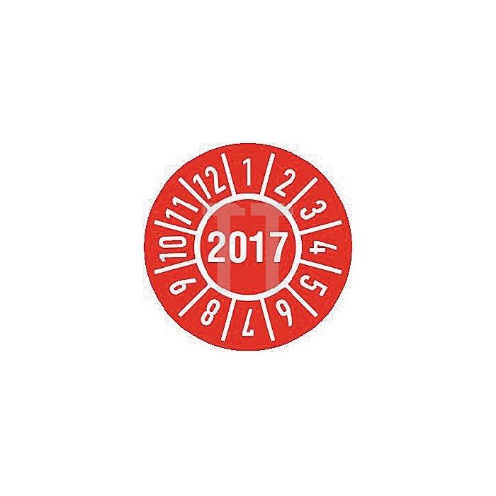 Einjahres-Prüfplakette Jahr 2017 mit Monaten 30mm selbstkl. Btl. a 100 Stück