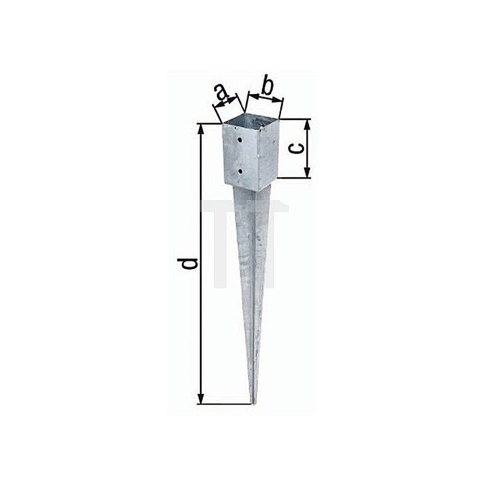 Einschlag-Bodenhülse 71x71x150x900mm Stahl roh feuerZN
