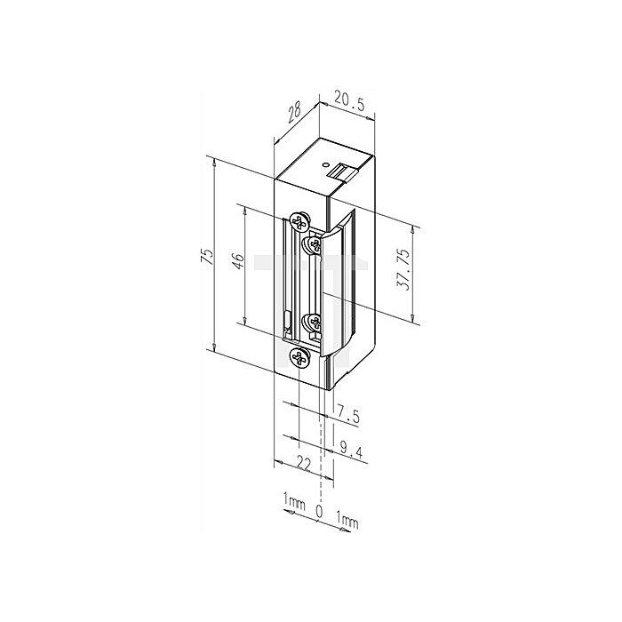 Elektro-Türöffner 116 E 12 V DC 100% ED DIN li./re.verwendbar mit Dauerentrieg.