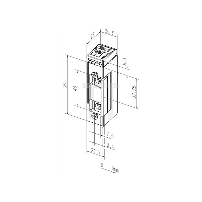 Elektro-Türöffner 17 RRE 24 V DC 100% ED m.Rückmeldekontakt m.Dauerentriegelung