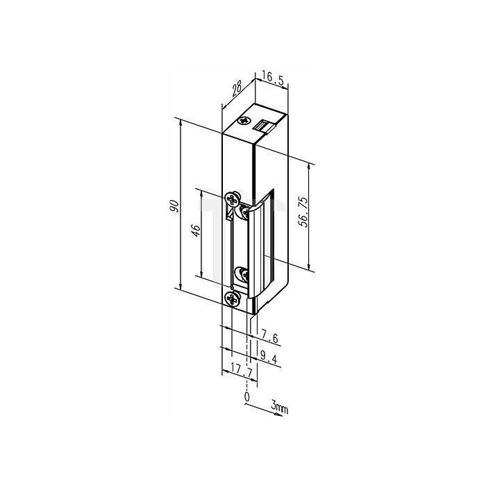 Elektro-Türöffner 19 E 6-12 V AC/DC DIN li./re.verwendbar m.Dauerentriegelung