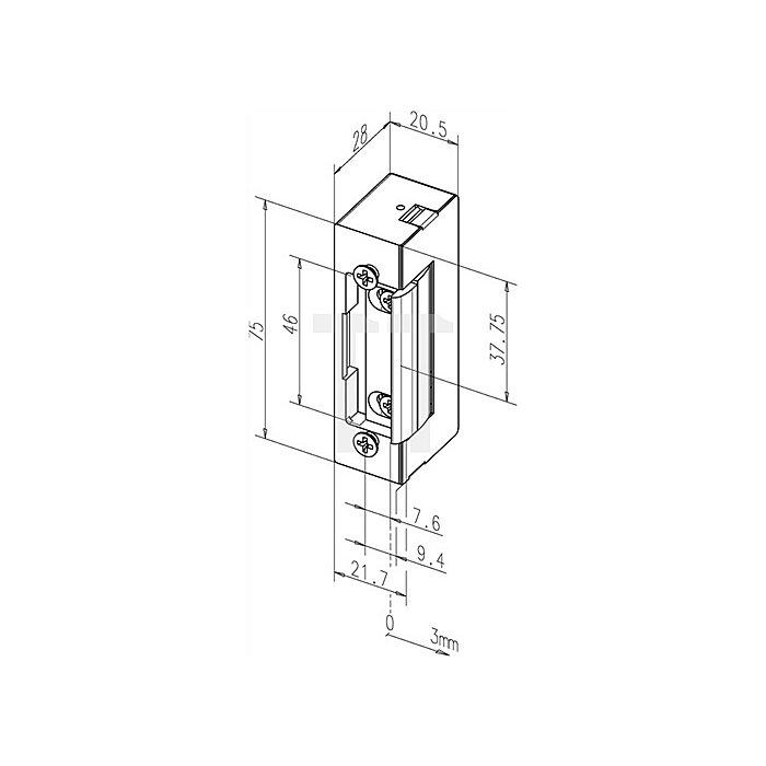 Elektro-Türöffner 27E 12 V DC 100% ED DIN li./re.verwendbar m.Dauerentriegelung