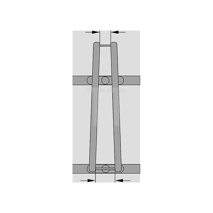 Fahrradbügelparker 6er 90Grad L.2100mm f.B.42-43mm 1seitig z.Aufschrauben