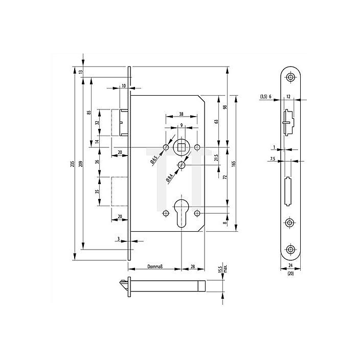 Fallenriegel-Panikschloss 2126 DIN re.Dorn 55mm Panik-Funktion E Stulp 20mm