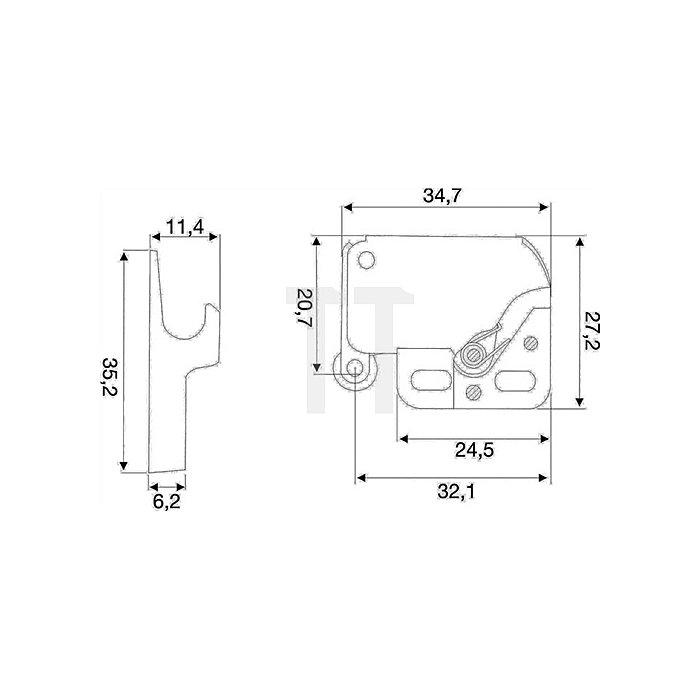 Federschnapper ML 24,5/34,7x27,2mm Stahl vernickelt mit Gegenstück Kunststoff
