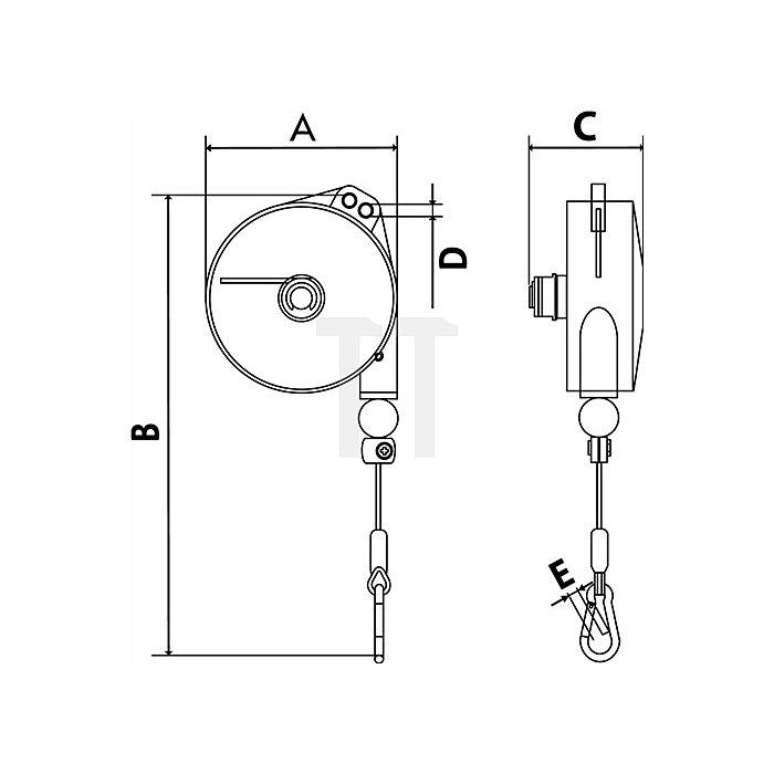 Federzug Alu-Druckgussgehäuse Trgf. 1-2,5kg Seillänge 2,0m Seil-D. 2,0mm