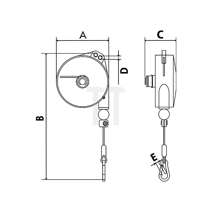 Federzug Alu-Druckgussgehäuse Trgf. 2-4kg Seillänge 2,0m Seil-D. 2,0mm