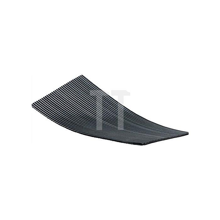 Feinriefenmatte Gummi 3mm m.Gewebe L.10000xB.1000mm schwarz 10m/RL
