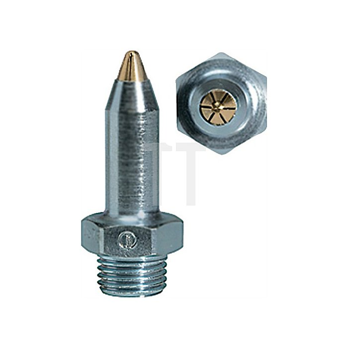 Feinstahldüse lärmarm, Stahl vernickelt, Messing M 12 x 1,25 Länge 45,0 mm