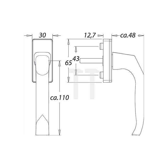 Fenstergriff 1003 7mm VK 35mm vorstehend Alu F2 mit Rastung