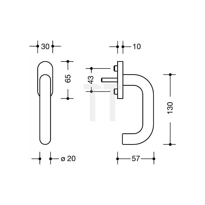 Fenstergriff 111FG.1 80 VK7mm vorsteh.Stift-L.30mm 90Grad-Rastung kaffebraun