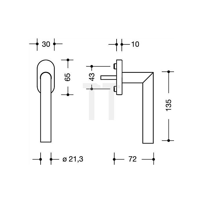 Fenstergriff 162PCFG.2 90 VK7mm vorsteh.Stift-L.30mm 90Grad-Rastung tiefschwarz