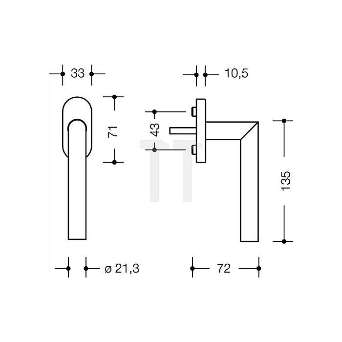 Fenstergriff 162XAFG.2 VK 7mm vorstehende Stiftlänge 30mm 90Grad-Rastung VA matt