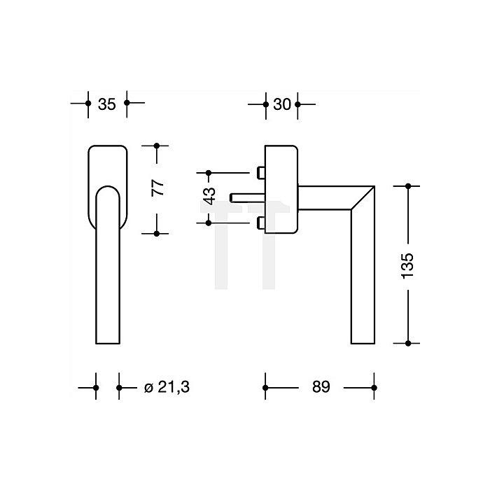 Fenstergriff abschl.162PCFGA.2 99 VK7mm vorsteh.Stift-L.30mm 90Grad-R.reinweiss